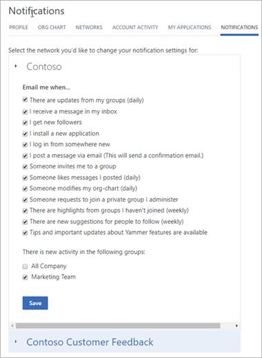 Configurações de usuário para quando as notificações são enviadas por email