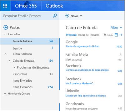 Modo de exibição principal do Outlook na Web