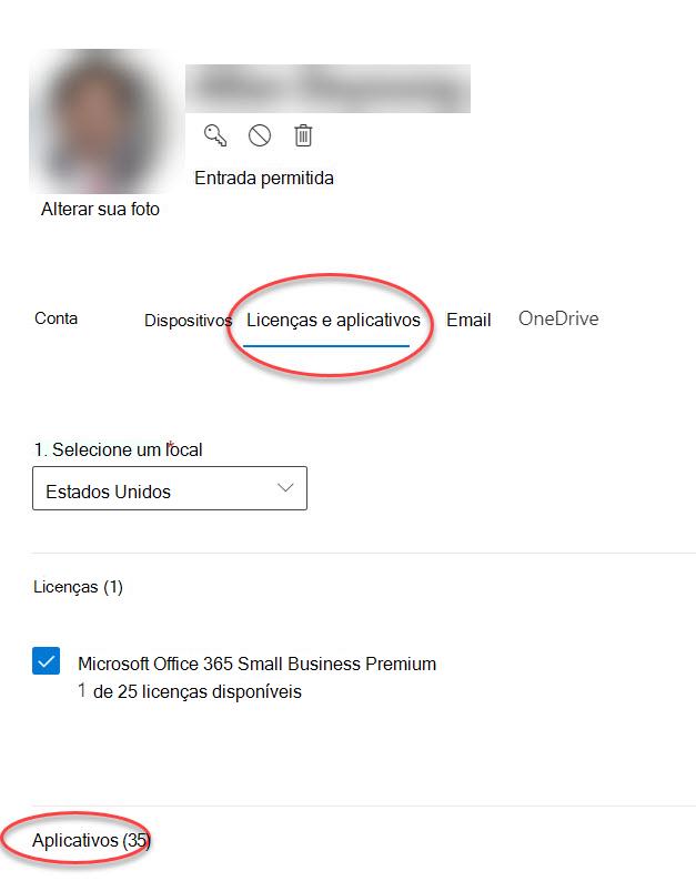 Formulário opções de conta no centro de administração do Microsoft 365