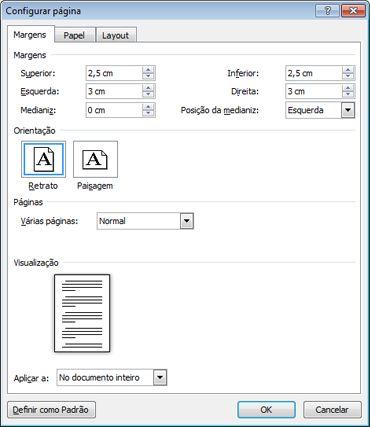 Caixa de diálogo Configuração de Página