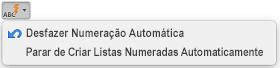 Botão de AutoCorreção com as opções de numeração automática