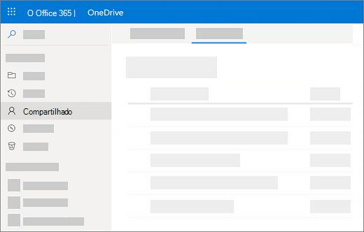 Captura de tela de compartilhado por mim exibir no OneDrive for Business