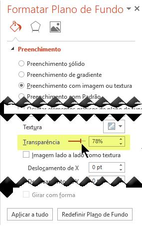 Arraste a barra Transparência para ajustar a imagem