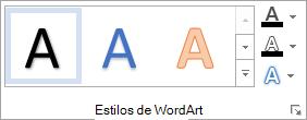 Grupo estilos de WordArt