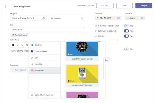 Menu para adicionar um recurso MakeCode a uma atribuição do Microsoft Teams