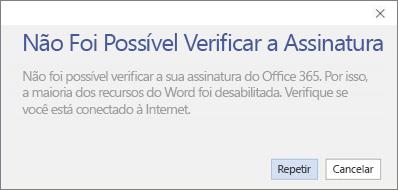 """Captura de tela da mensagem de erro """"Não foi possível verificar a assinatura"""""""