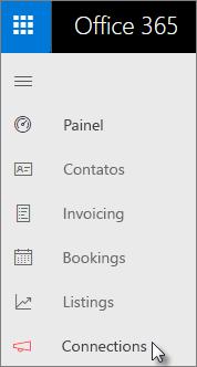 Acesse Conexões na barra de navegação à esquerda no painel do Centro de empresas