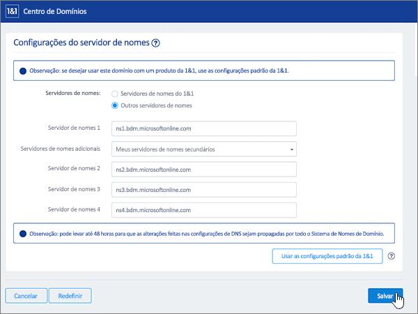 Clicar em Salvar na página Configurações do servidor de nome
