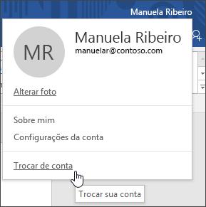 Captura de tela mostrando como mudar de conta em um aplicativo da área de trabalho do Office