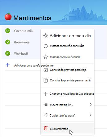 Captura de tela mostrando a opção de excluir tarefas pendentes no menu de contexto