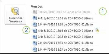Histórico de versão no modo de exibição backstage de um documento do Microsoft Word