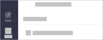 Os Aplicativos estão do lado esquerdo do Teams na parte inferior da página