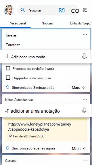 Captura de tela mostrando o cartão de tarefas no feed do inicializador