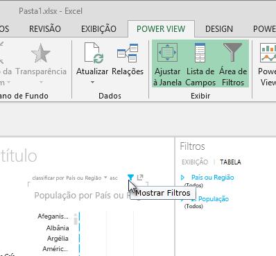 o ícone Filtros aparece quando você passa o mouse sobre uma visualização do Power View