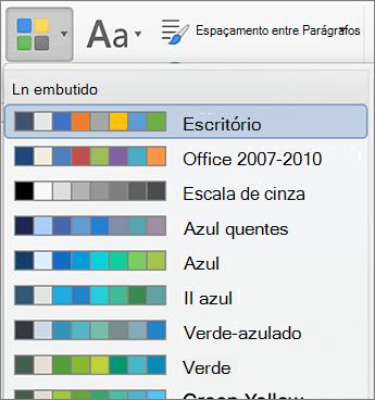 Opções de cores quando você clica no botão cores