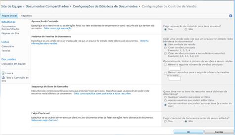 Página Seleções de Controle de Versão mostrando as seleções para Aprovar