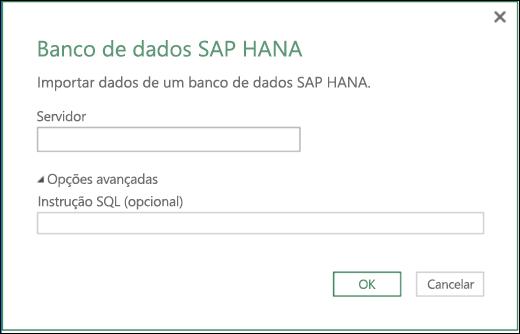 Caixa de diálogo de importação de Banco de Dados SAP HANA do Power BI do Excel