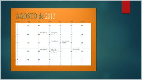 Adicionar um calendário a um slide