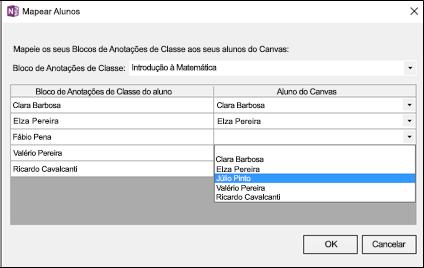 Captura de tela de como mapear alunos para os nomes de alunos do Canvas