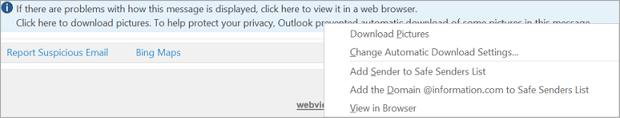Sinalizadores e lembretes para destinatários recebem a mensagem de barra de informações.