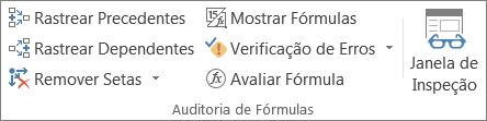 Grupo Auditoria de Fórmulas na guia Fórmulas