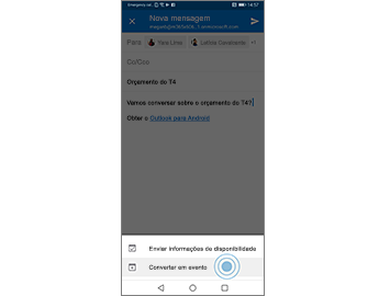 Mensagem com o comando Converter para evento na parte inferior da tela