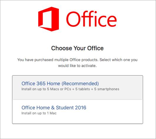 Escolher o tipo de licença do Office 2016 para Mac