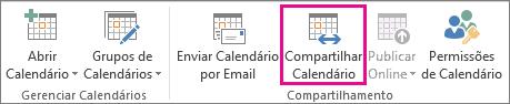 Botão Compartilhar Calendário na guia Página Inicial do Outlook 2013