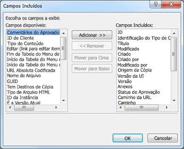 Caixa de diálogo Campos Incluídos
