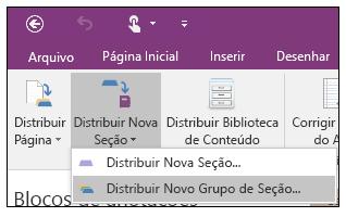 Captura de tela de como distribuir um novo grupo de seções no suplemento Criador de Bloco de Anotações de Classe.