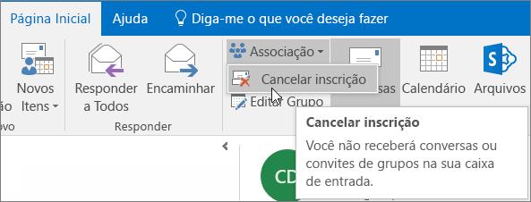 Os usuários podem cancelar a assinatura de um grupo e já não receber emails enviados para sua caixa de entrada.