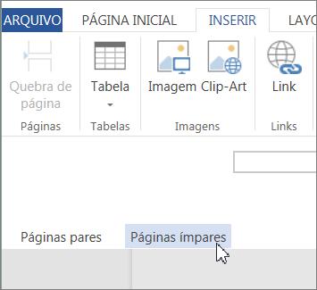 Área da página ímpar para cabeçalho e rodapé