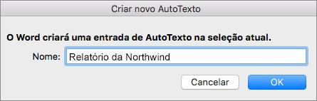 Caixa de diálogo Criar Novo AutoTexto
