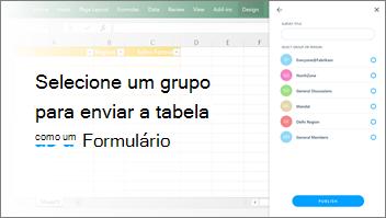 Captura de tela: Fosse grupo para enviar a tabela