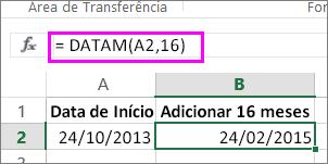 usar a fórmula DATAM para adicionar meses a uma data