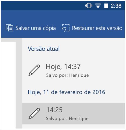 Captura de tela da opção histórico para restaurar versões anteriores no Android.