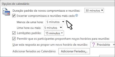 Caixa de diálogo Opções de calendário com a caixa de seleção Encerrar compromissos e reuniões antecipadamente marcada