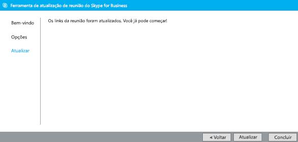 Captura de tela da ferramenta de migração de reunião atualizada