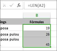 Dados de exemplo para gráficos