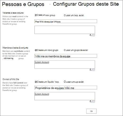 Configurar grupos para a caixa de diálogo do site