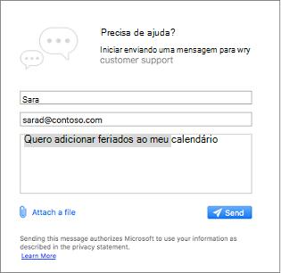 Suporte a caixa de diálogo onde você pode inserir sua mensagem e anexe imagens contatos