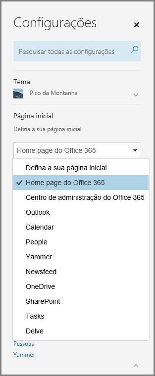 Alterar a página inicial do Office 365