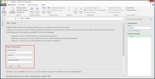 Controles de Entrada Embutidos do Power BI do Excel para invocação de função no Editor de Consultas