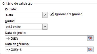 Configurações de critérios de validação para restringir a entrada de data a um intervalo de tempo específico