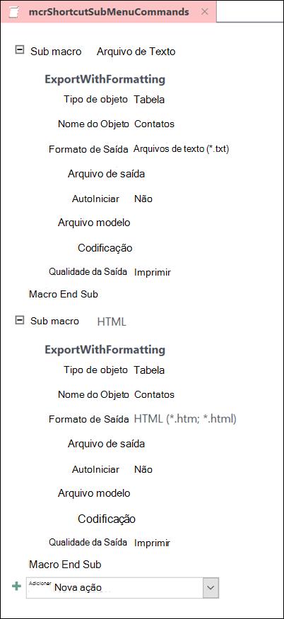 Captura de tela de uma macro no Access com dois submacros
