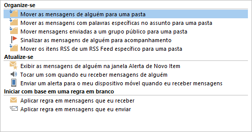Assistente de Regras do Outlook