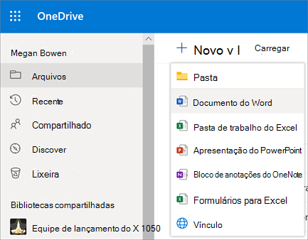 Novo menu de arquivo ou pasta no OneDrive for Business