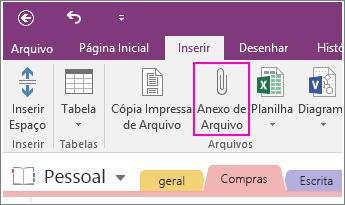 Captura de tela do botão Inserir anexo de arquivo no OneNote 2016.