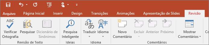 Mostra a guia Revisão da faixa de opções do PowerPoint
