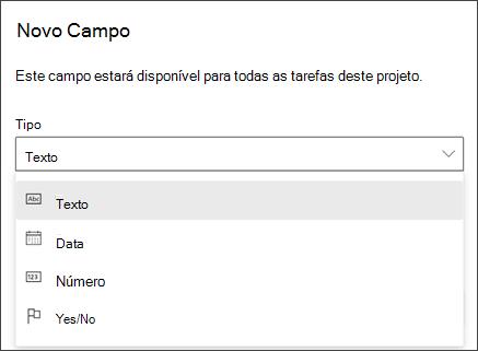 Captura de tela do projeto da caixa de diálogo novo campo mostrando tipos texto, data, número, sim/não